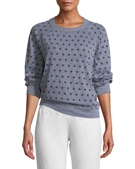 Monrow Heathered Star-Print Vintage Raglan Sweater