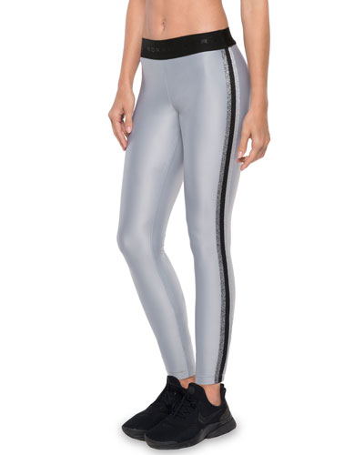 Rhys Mid-Rise Performance Leggings with Metallic Racer Stripes