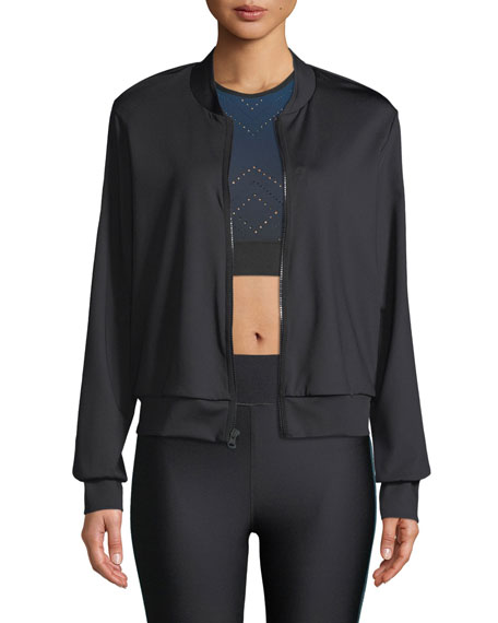 Ultracor STEALTH TUXEDO-STRIPE BOMBER JACKET WITH SWAROVSKI® TRIM