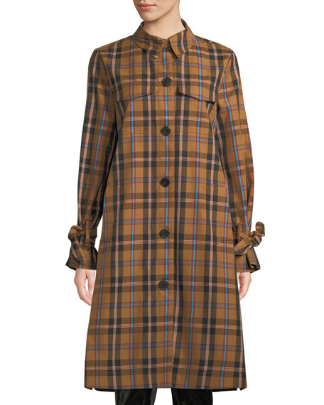 DEREK LAM 10 CROSBY Plaid Button-Front Long Coat in Yellow