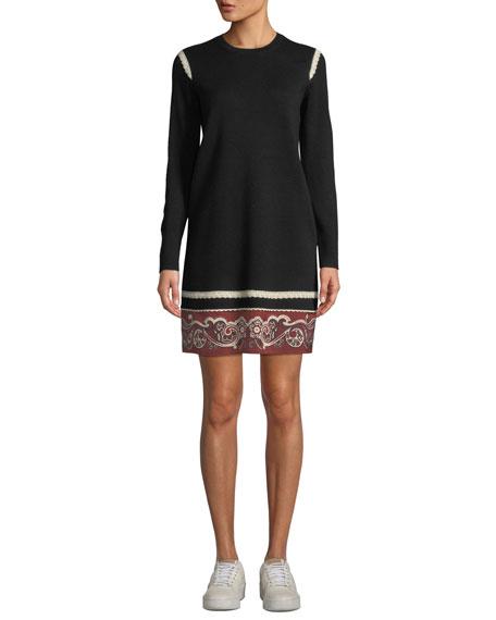 Long-Sleeve Bandana Trim Merino Wool Dress, Black
