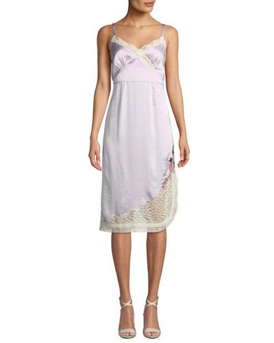 x Selena Slip Dress with Lace Trim