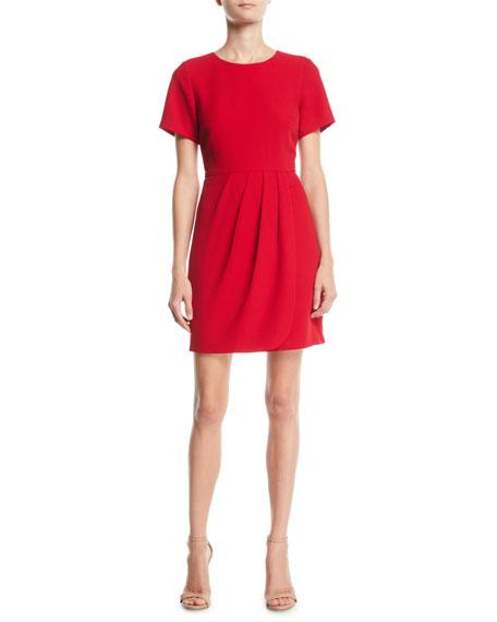 CLUB MONACO Lynndalyn Pleated Short-Sleeve Mini Dress in Red