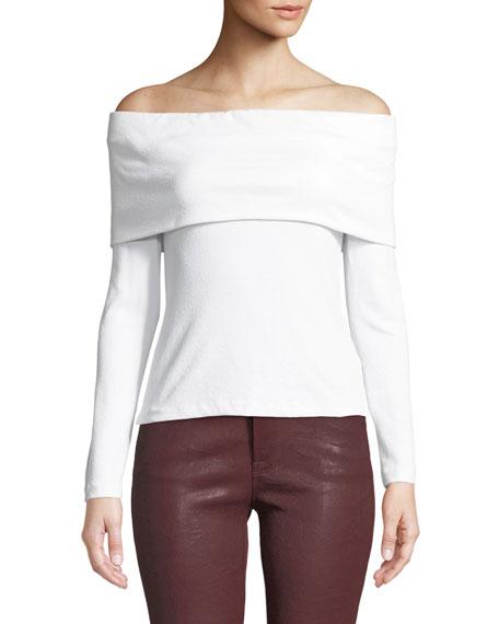 CLUB MONACO Tabbie Off-Shoulder Long-Sleeve Top in White