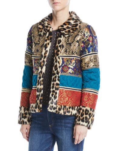 Glennie Patchwork Coat w/ Leopard Faux-Fur Combo