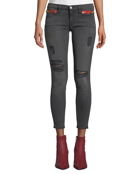 Etienne Marcel DISTRESSED HIGH-RISE SKINNY ANKLE JEANS WITH ZIPPER DETAILS