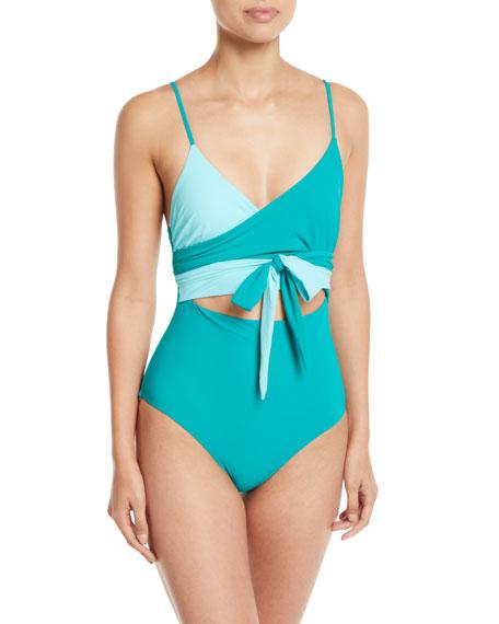 fe89e3a398b Stella McCartney 90s Fluo Scoop-Neck Cutout One-Piece Swimsuit
