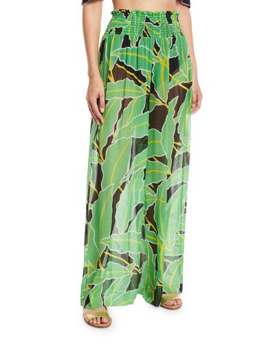 Smocked Leaf-Print Wide-Leg Coverup Pants