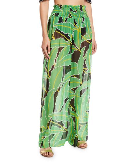 Diane Von Furstenberg SMOCKED LEAF-PRINT WIDE-LEG COVERUP PANTS