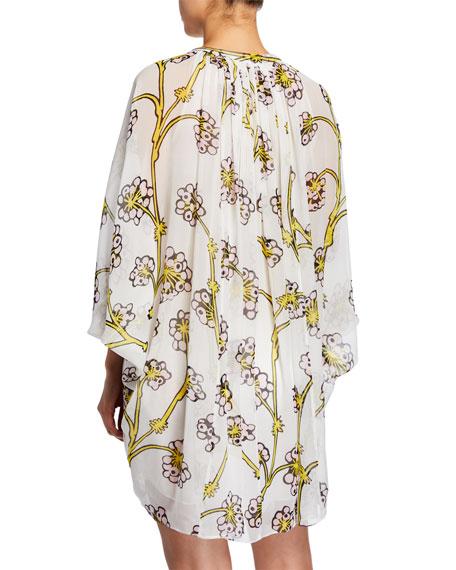 48cb22825c2b8 Diane von Furstenberg Fleurette Floral Silk Shirred Coverup Dress