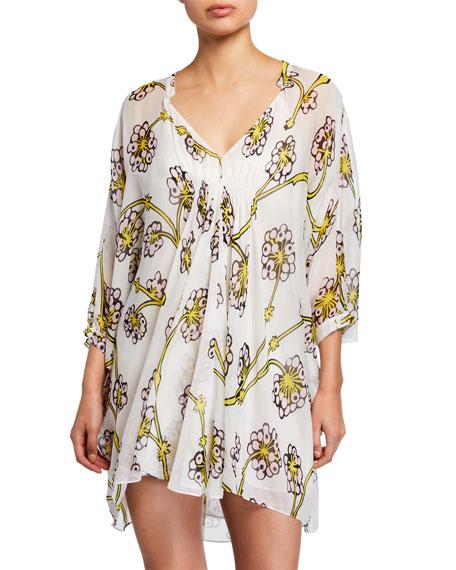 Diane von Furstenberg Fleurette Floral Silk Shirred Coverup