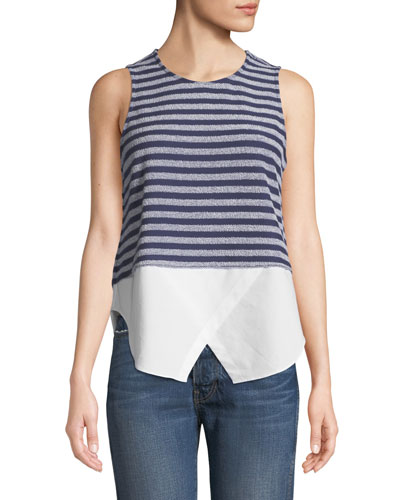 Sleeveless Striped Tank with Shirttail Hem