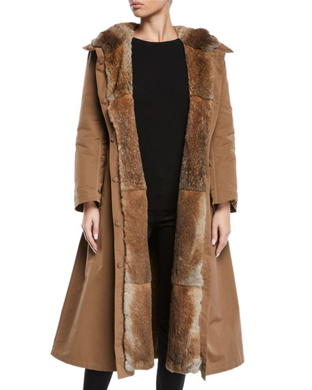 Here Is The Cube Collection Urbanl Long Removable Fur Trench Coat in Camel