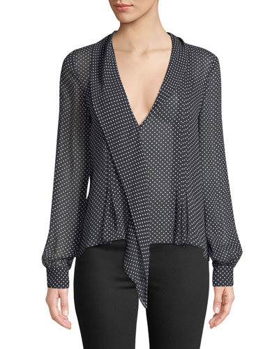Dowa Long-Sleeve Polka-Dot Silk Top
