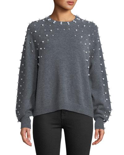 Nilania Pearly-Beads Crewneck Wool-Cashmere Sweater