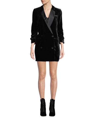 Albertyne Double-Breasted Velvet Tuxedo Dress