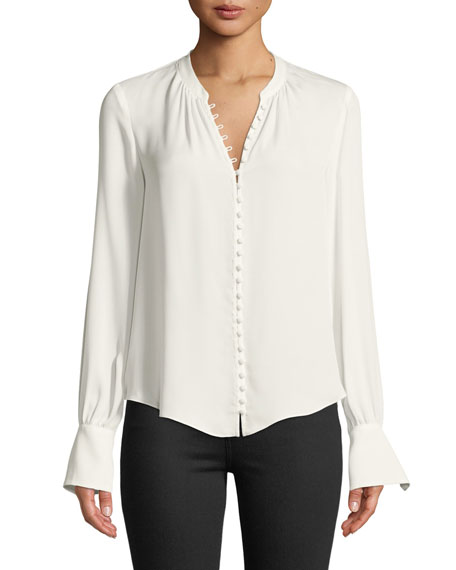 Tariana Button-Front Long-Sleeve Silk Blouse