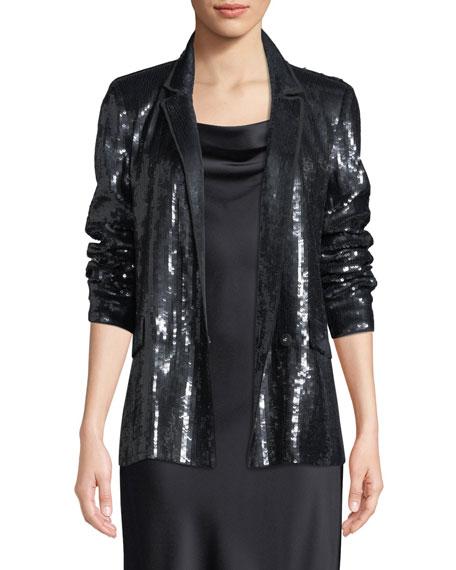 Diandra Sequin Tuxedo Jacket in Caviar from Joie