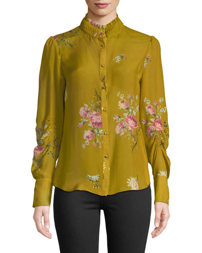 Elzie Long-Sleeve Floral Silk Top