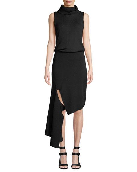 Hollis Mock-Neck Cascade Dress