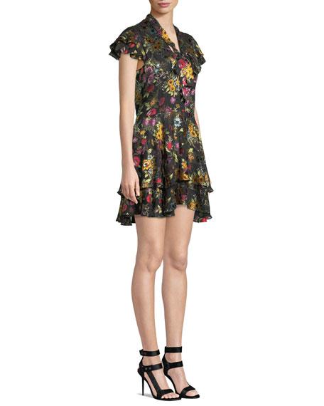 Moore Tie V-Neck Cap-Sleeve Layered Floral-Print Velvet Mini Dress