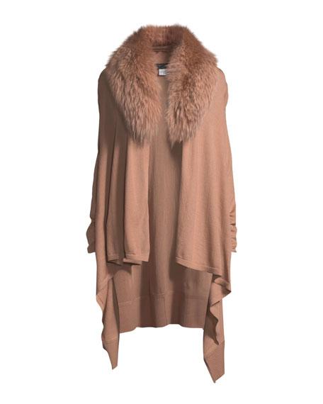 Izzy Wool-Cashmere Duster Cardigan w/ Fur Collar