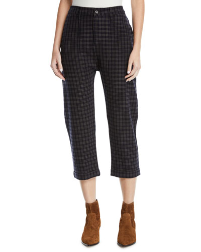 The Saddle Cropped Plaid Trousers