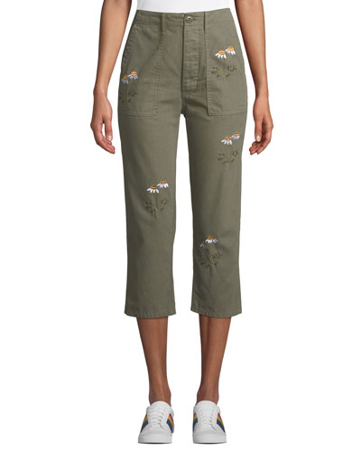 Embroidered Straight-Leg Cropped Army Pants