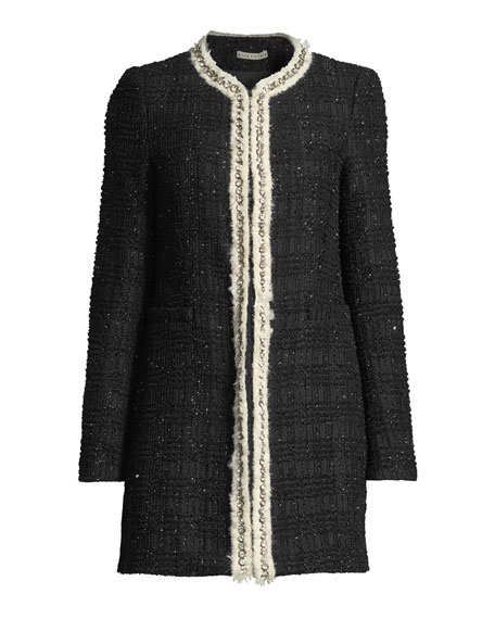 b93cc6cde76d Alice + Olivia Andreas Collarless Boucle Jacket w  Crystalized ...