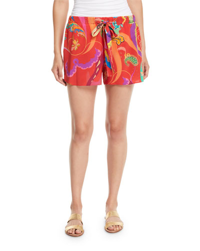 Printed Silk Coverup Shorts
