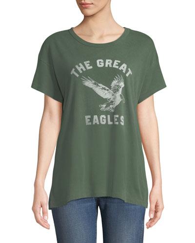 The Boxy Crewneck Tee with Eagles Varsity Logo