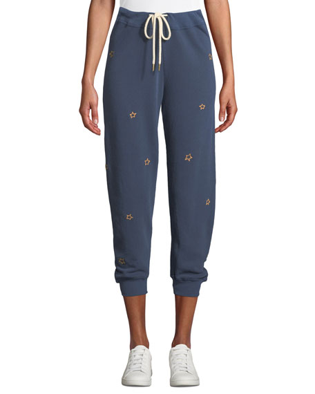The Cropped Embroidered Cotton-Jersey Track Pants, Navy/ Star Embroidery