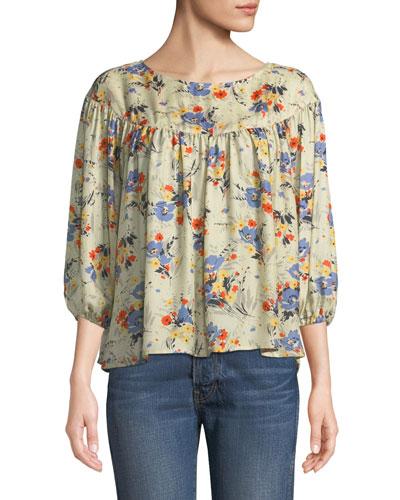 The Duskfall Silk Floral-Print Top