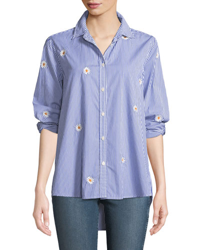 The Oversized Button-Front Daisy-Embroidered Striped Oxford Shirt