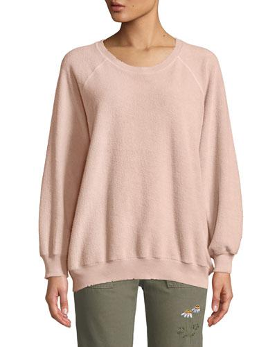 The Bubble Crewneck Distressed Raglan Sweatshirt