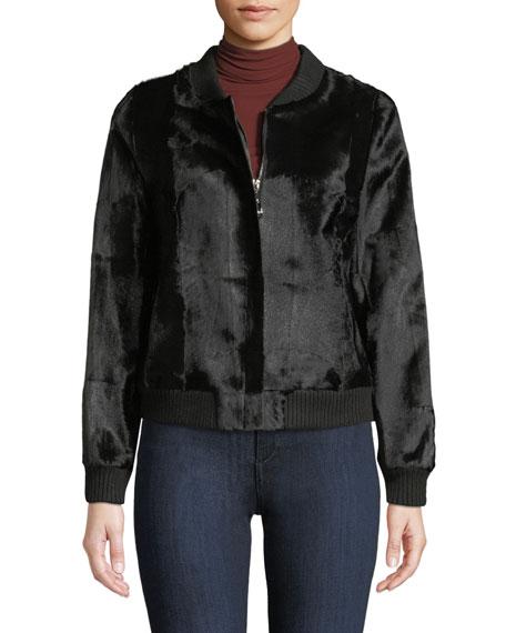 BELLE FARE Goat Fur Bomber Jacket in Black