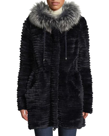 BELLE FARE Reversible Knit & Fur Jacket W/ Trim in Navy