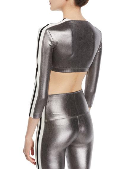 Metallic Side-Stripe 3/4-Sleeve Crop Top