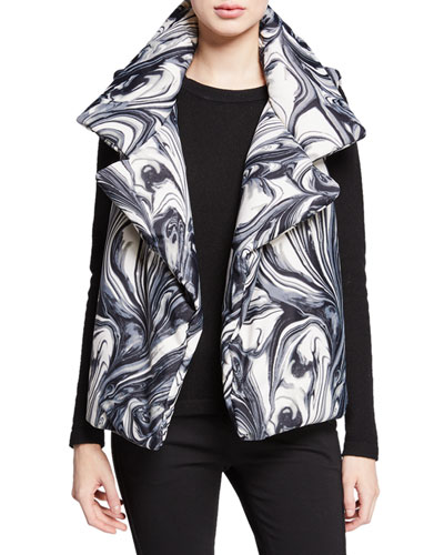 Sleeping Bag Printed Open-Front Puffer Vest