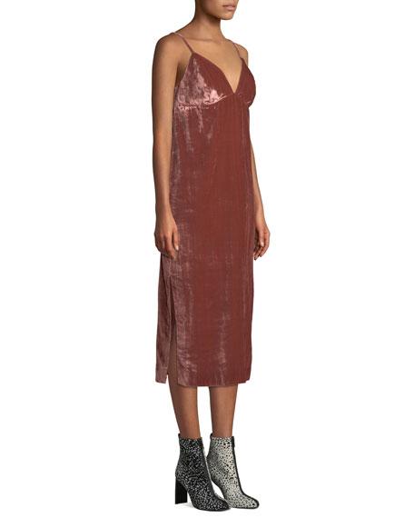Velvet Slip Empire Midi Dress