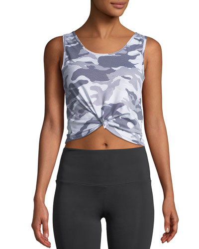 Knotted Camo-Print Activewear Crop Top