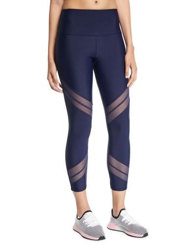 Sporty Mesh Cropped Performance Leggings