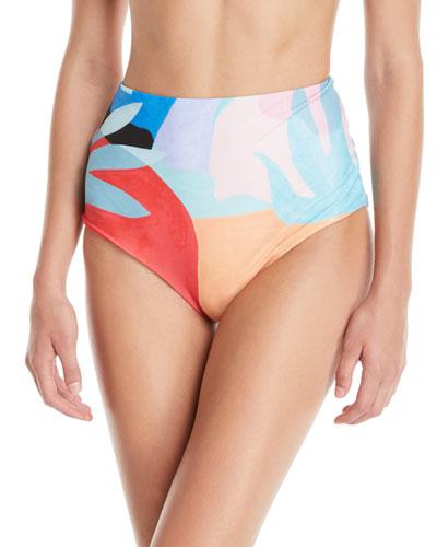 Lydia High-Waist Brushed Colorblock Bikini Bottoms