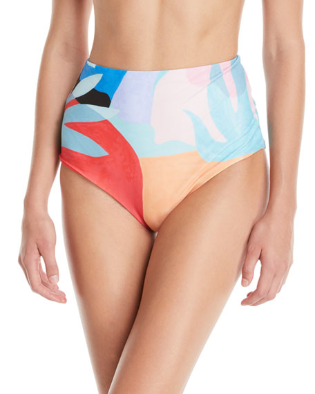 Mara Hoffman Lydia High-Waist Brushed Colorblock Bikini Bottoms