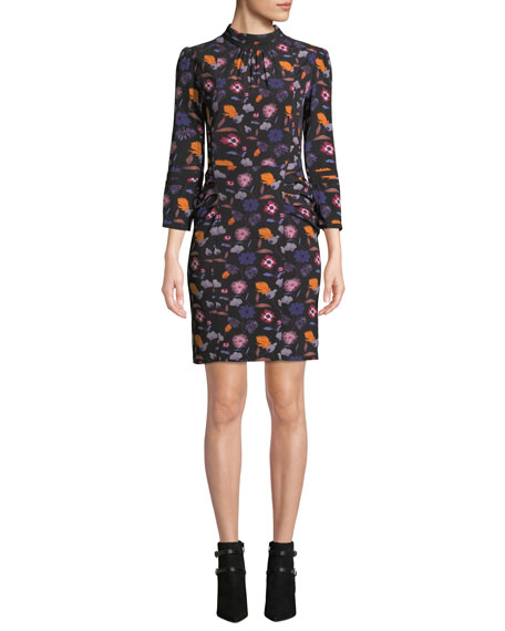 BA&SH Maha Floral High-Neck 3/4-Sleeve Short Dress in Noir