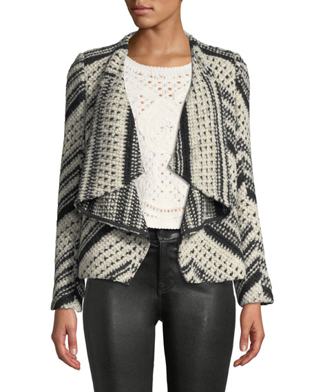 BA&SH Ilda Stripe Knit Open-Front Blazer Jacket in Noir