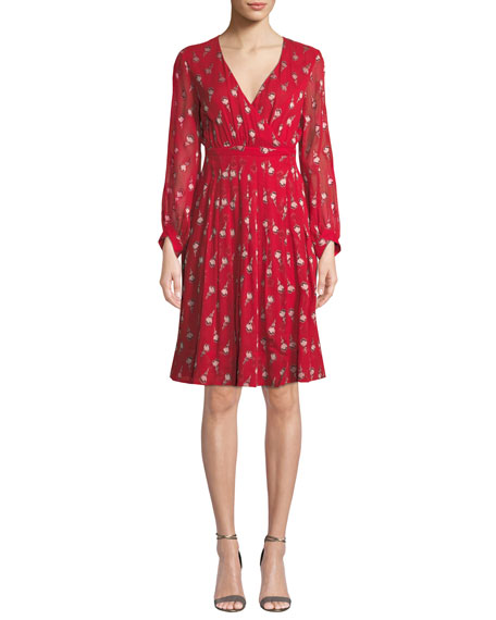 BA&SH Memory Floral Long-Sleeve V-Neck Dress in Red