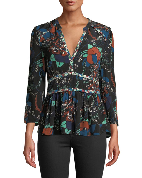 BA&SH Alix Floral 3/4-Sleeve V-Neck Top in Black
