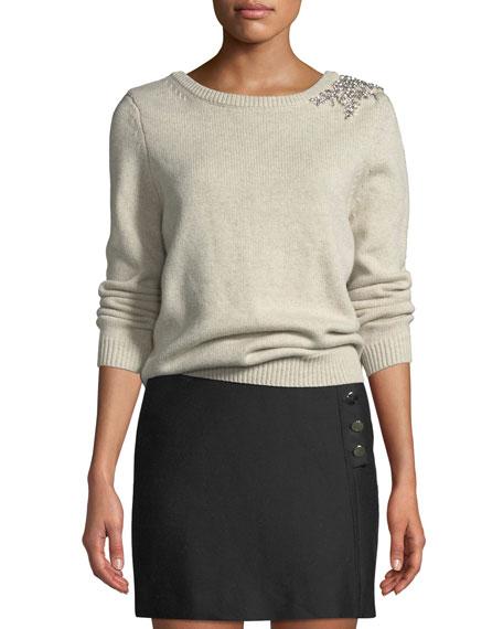 ba&sh Ourea Embellished Boat-Neck Wool Sweater