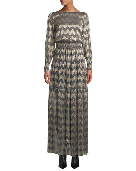 Ba&sh BOAT-NECK CHEVRON STRIPE METALLIC MAXI DRESS